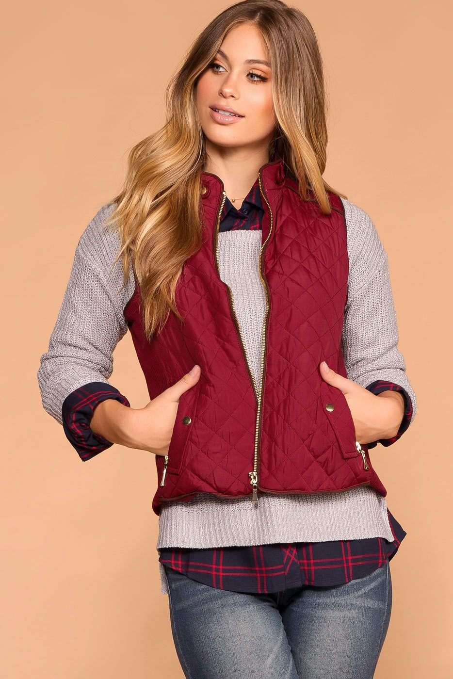 Burgundy | Quilted Vest | Womens | Priceless