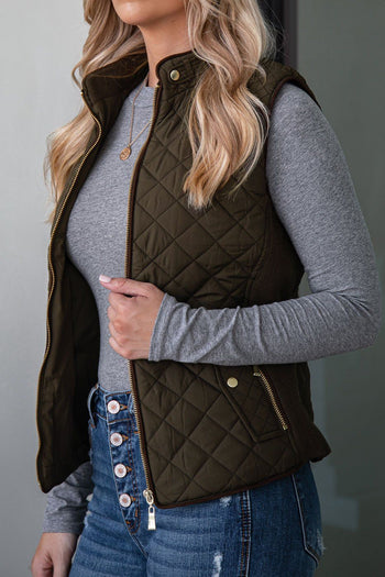 Vail Olive Quilted Vest