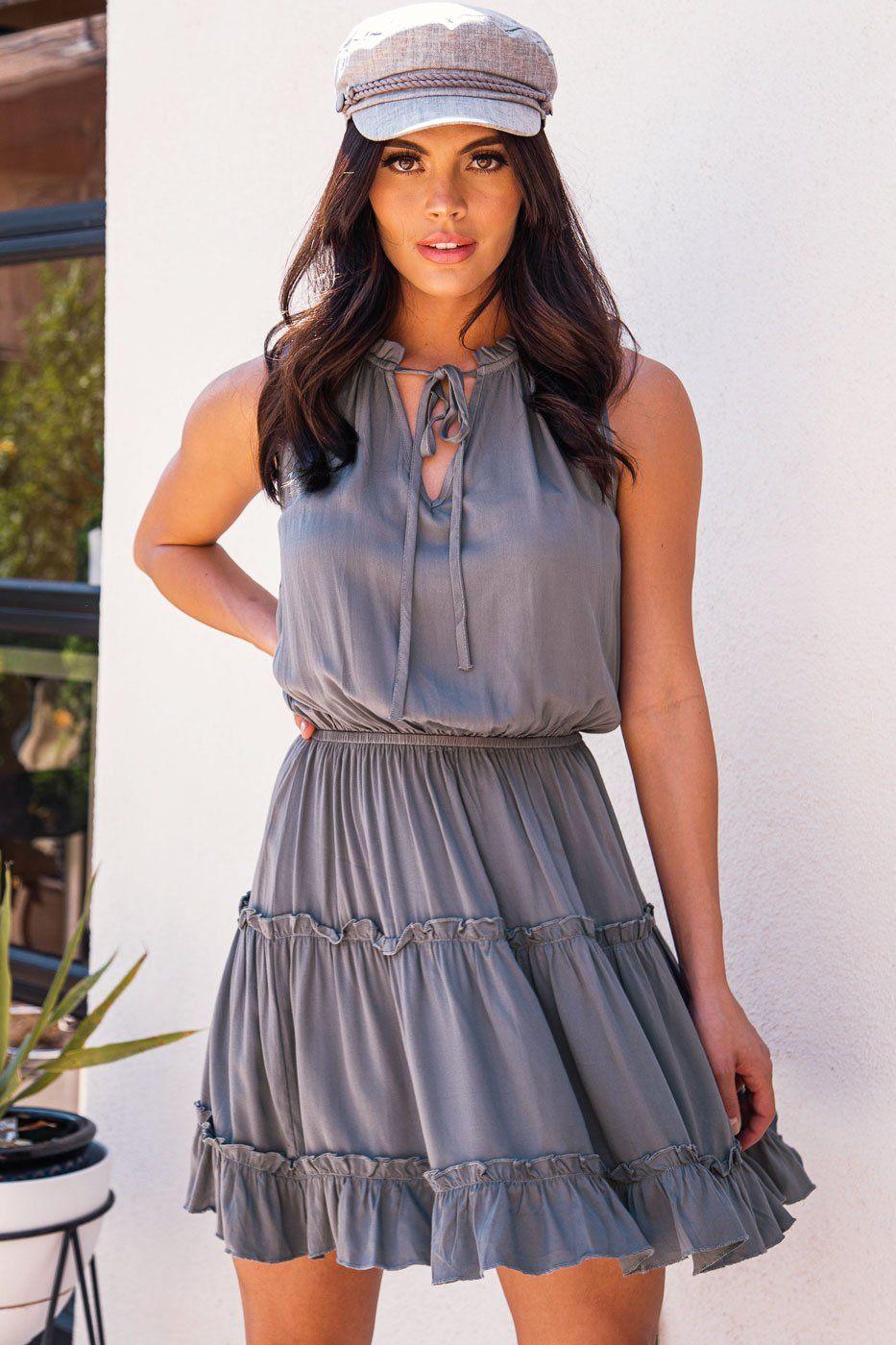 Grey Ruffle Dress