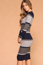 Navy | Bodycon Midi Dress | Stripe | Grey | Womens | Priceless