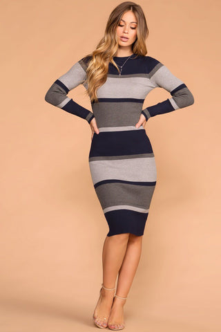 Knot So Fast Heather Grey Twist Sweater Knit Mini Dress