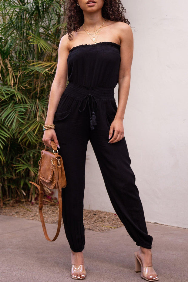 Verity Black Sleeveless Jumpsuit