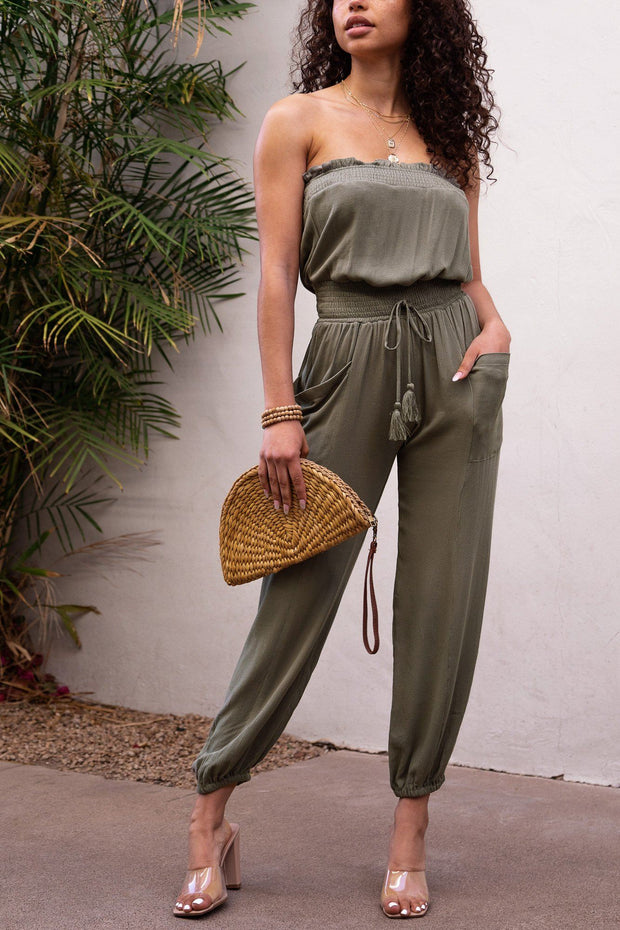 Verity Olive Sleeveless Jumpsuit