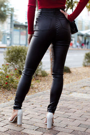 Black Vegan Leather Pants