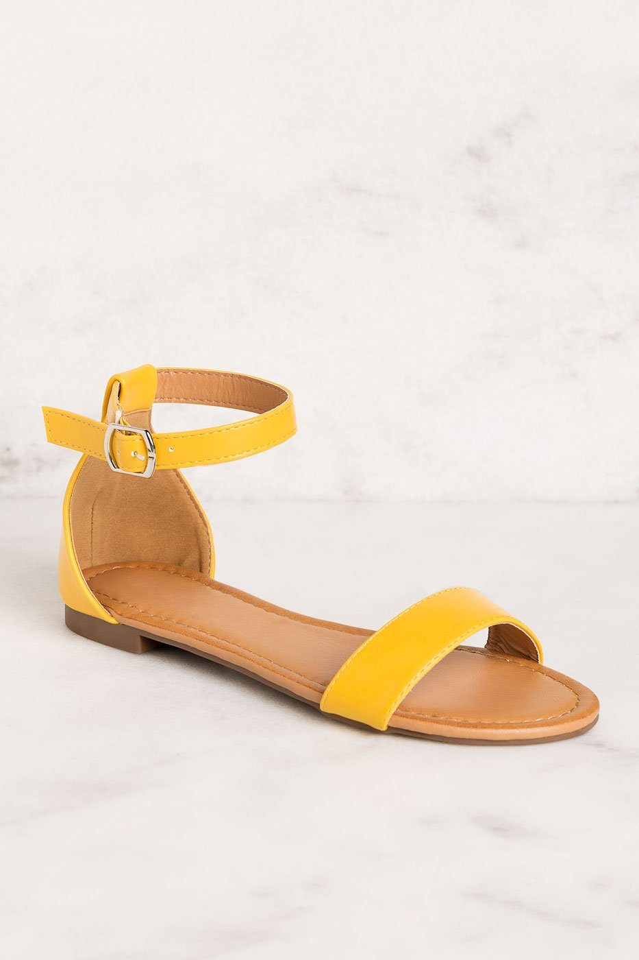 Viola Mustard Ankle Strap Sandals by