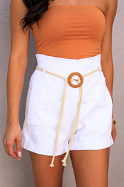 Vitamin Sea White Belted Shorts