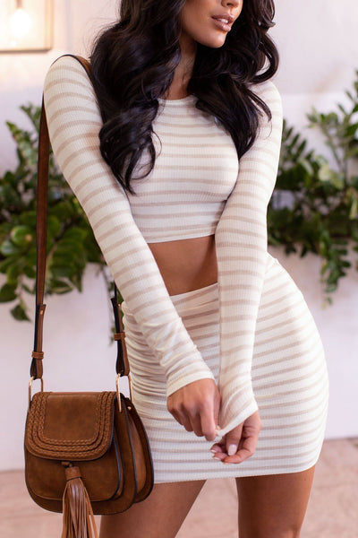 Striped Open Back Crop Top