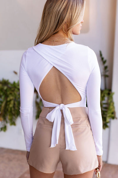 White Open Back Crop Top