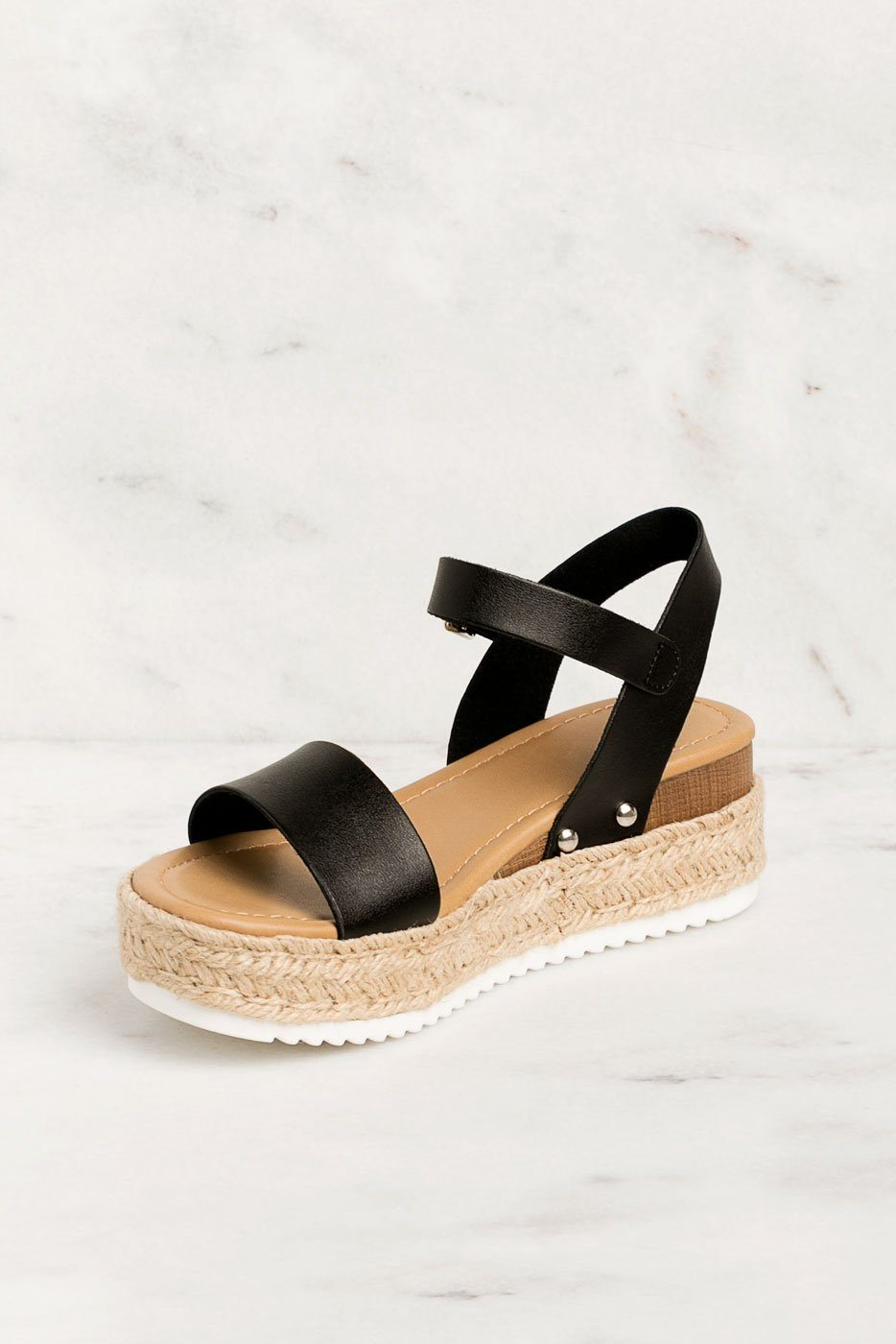 Walk It Off Black Platform Sandals | Fortune Dynamic