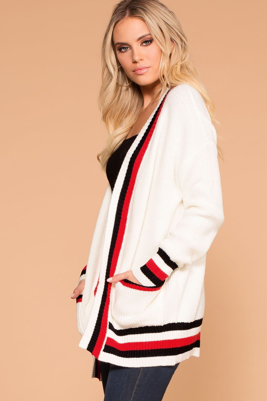 Priceless | White | Stripe Cardigan | Womens