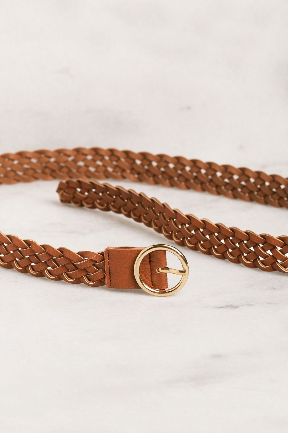 Tan Braided Belt with Gold Buckle