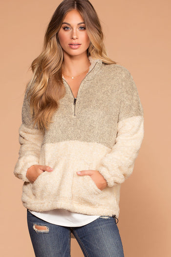 Warm And Toasty Taupe Sherpa Tunic Pullover Top