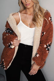 Tan and Rust Reversible Sherpa Coat