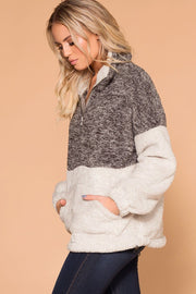 Priceless | Charcoal Sherpa Tunic | Pullover Top | Color Block | Womens