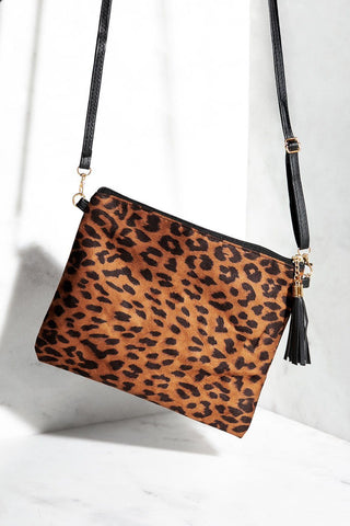 We Found Love Tan Leopard Clutch Purse