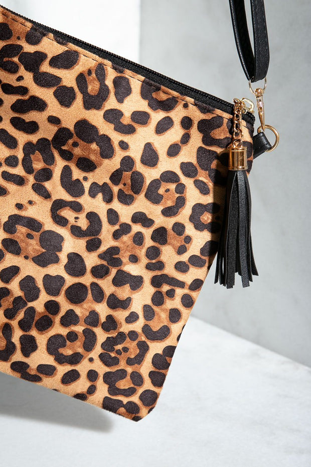 Tan Leopard Clutch Purse