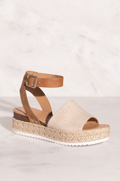wo-Tone Tan Canvas Sandals