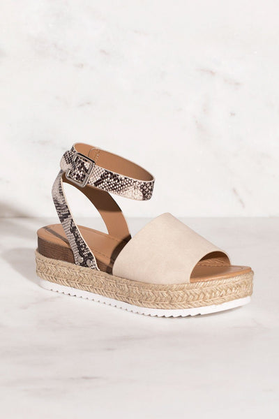 Weekend Two-Tone Snakeskin Sandals