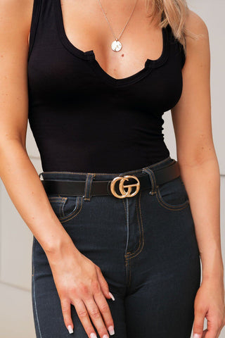 Brandie Black Ribbed Button Crop Top