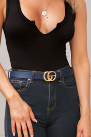 Navy Belt with GG Medallion Clasp