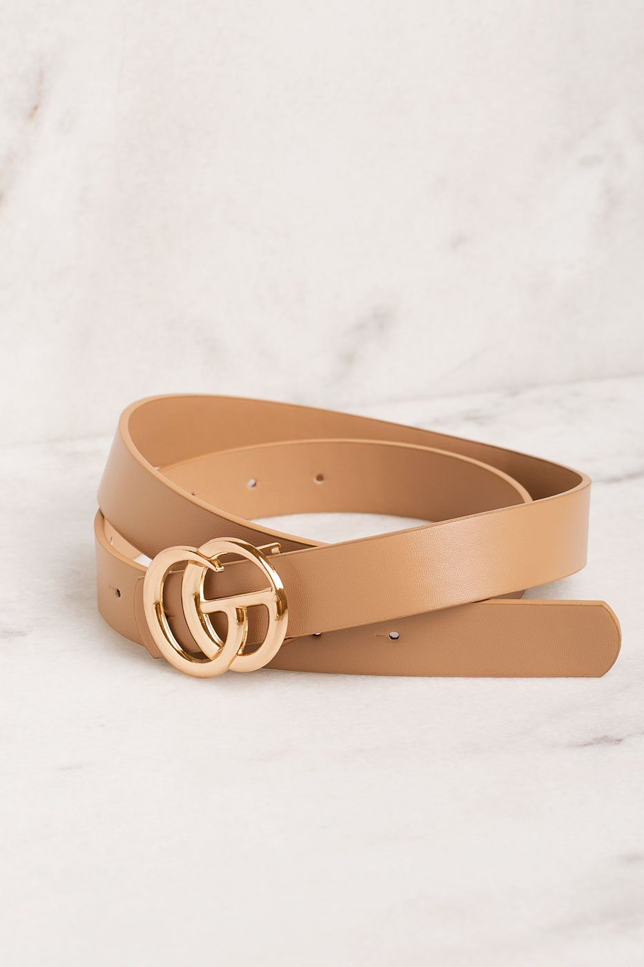 Taupe Belt with GG Medallion Clasp