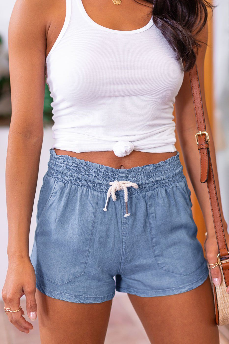 Wendy Blue Drawstring Shorts