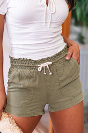 Wendy Olive Drawstring Shorts