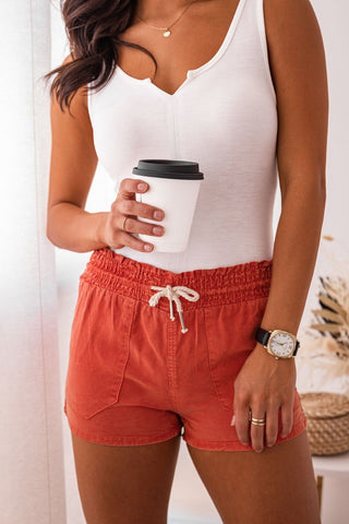 Summer Air White High Waisted Linen Shorts