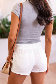 White Drawstring Shorts