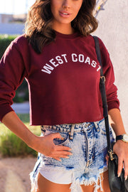 Burgundy Crop Sweatshirt