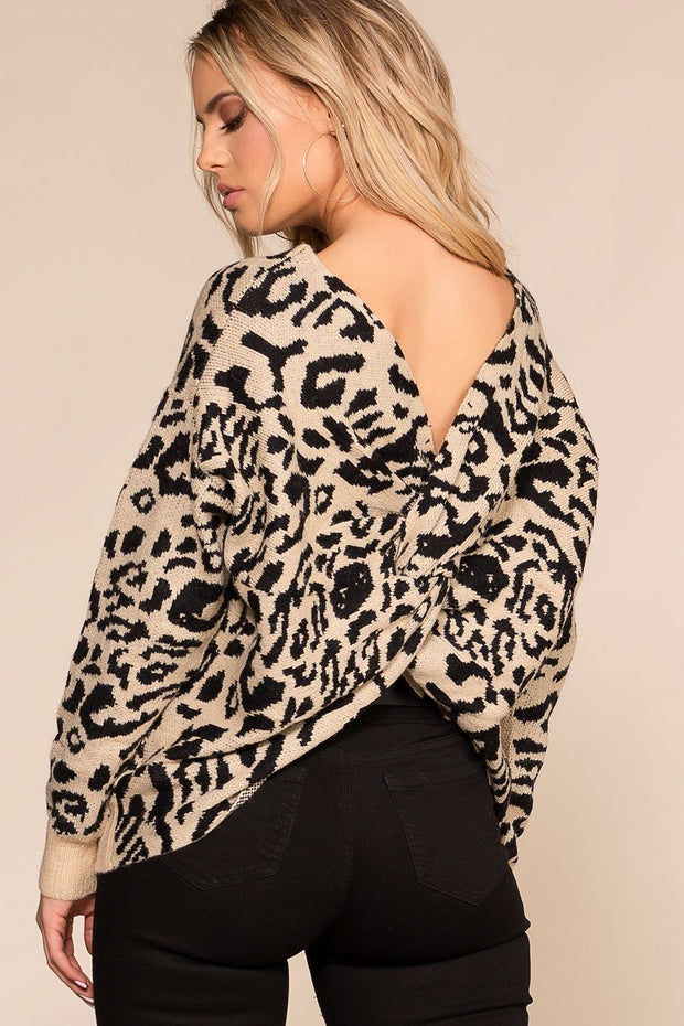 Priceless | Leopard | Twist Back Sweater | Knit Sweater | Womens