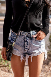 Wildflower Medium Wash High-Waisted Distressed Denim Shorts