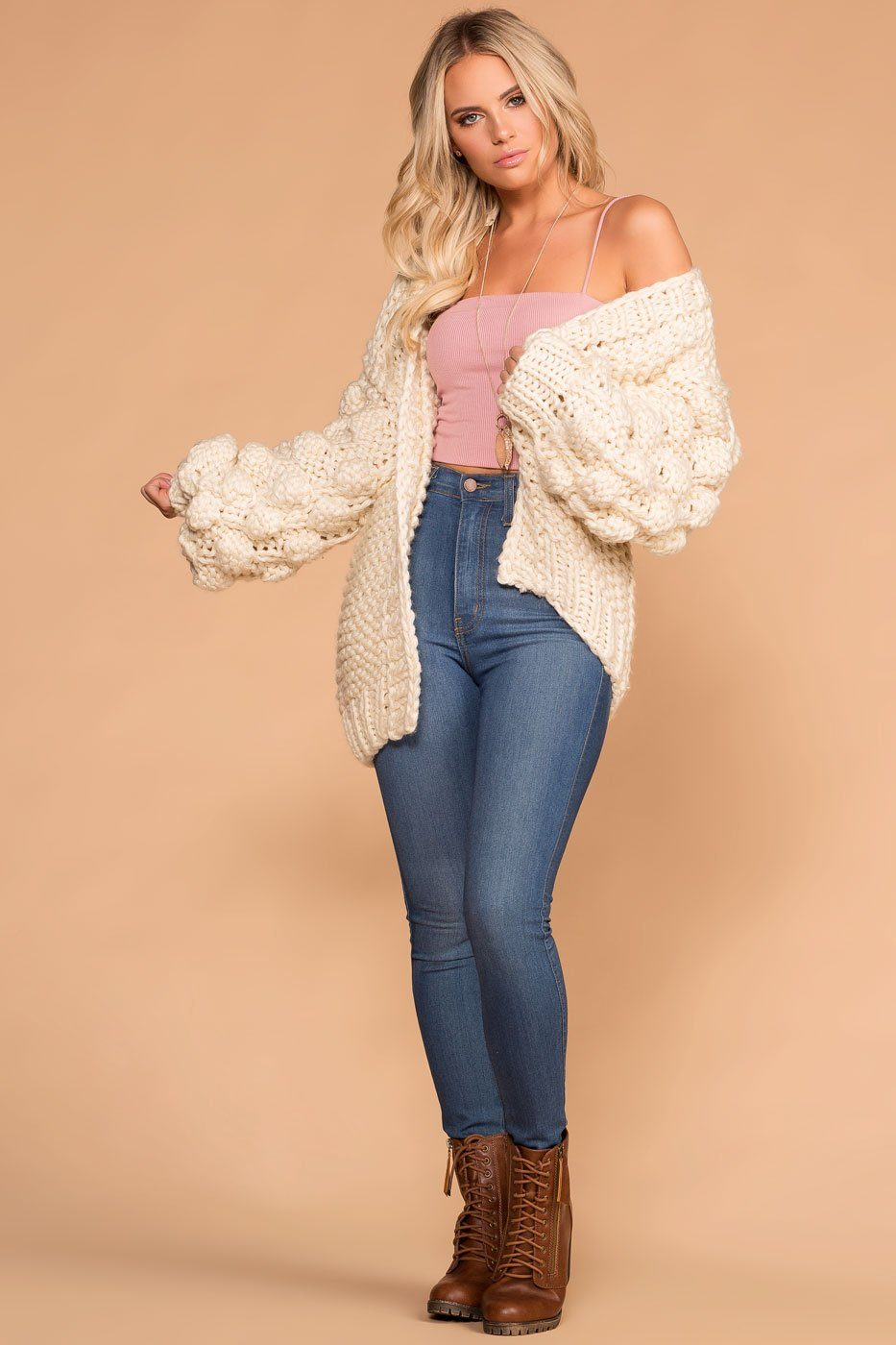 Priceless | Winter Wonder Ivory Cable Knit Cardigan | Womens