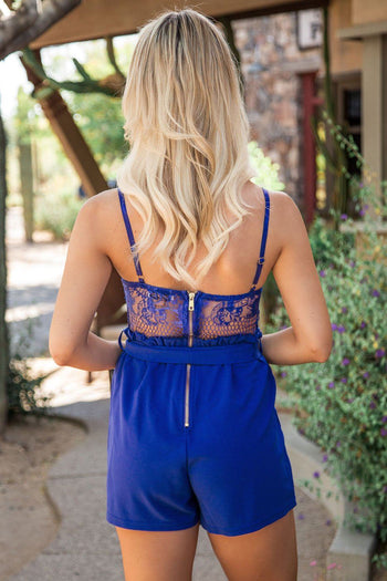 Royal Blue Romper with Lace