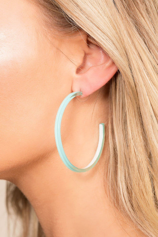 Priceless | Aqua | Acrylic Earrings | Hoop Earrings | Jewelry