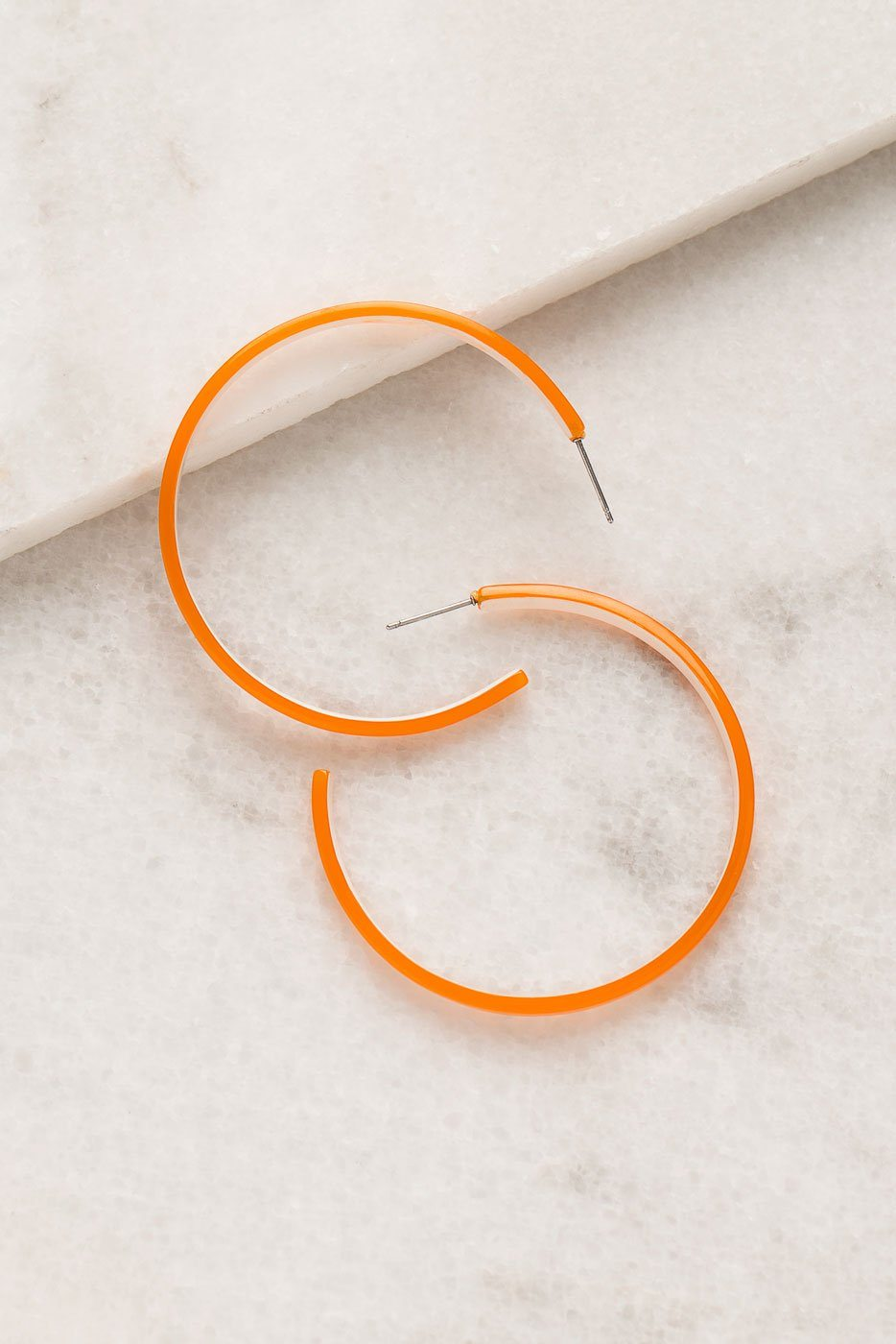 XOXO Orange Acrylic Hoop Earrings | Shop Priceless