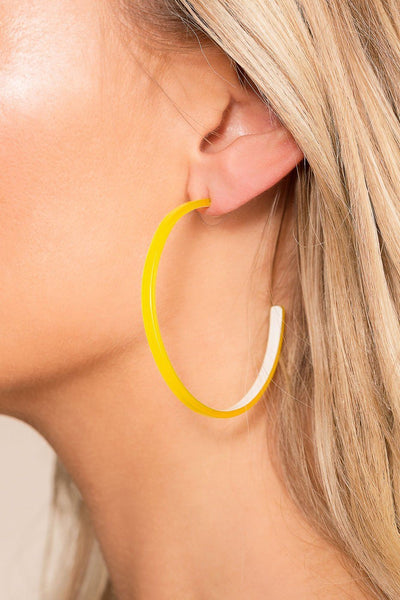 Priceless | Yellow | Acrylic Earrings | Hoop Earrings | Jewelry