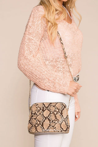 Stylin' Beige Snake Embossed Bag