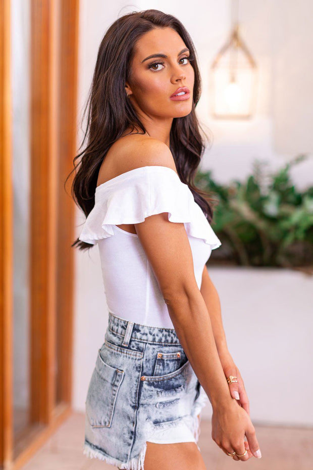White Off The Shoulder Ruffled Bodysuit