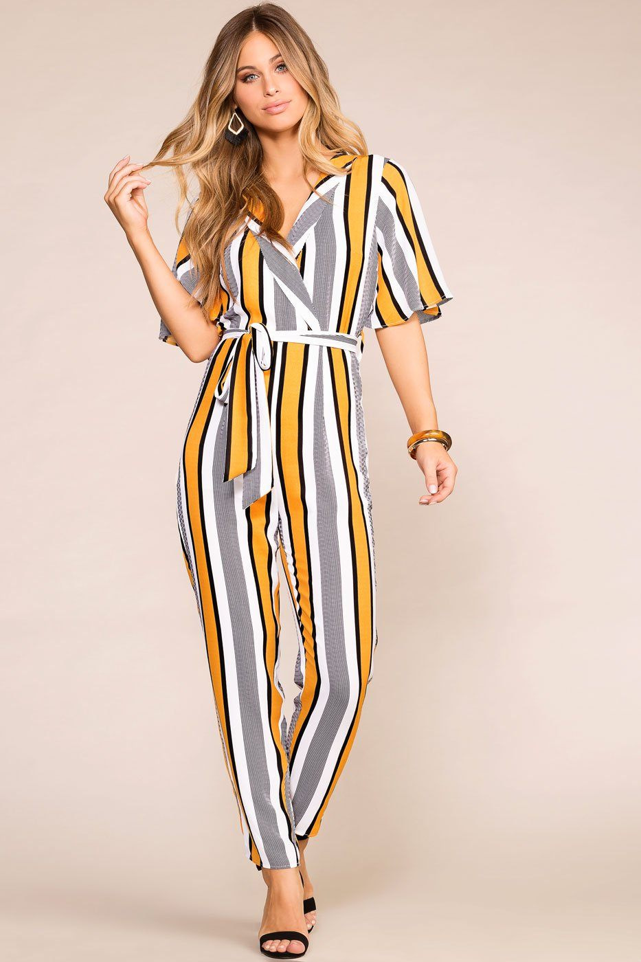 7261ac03f85 You re Golden Striped Jumpsuit