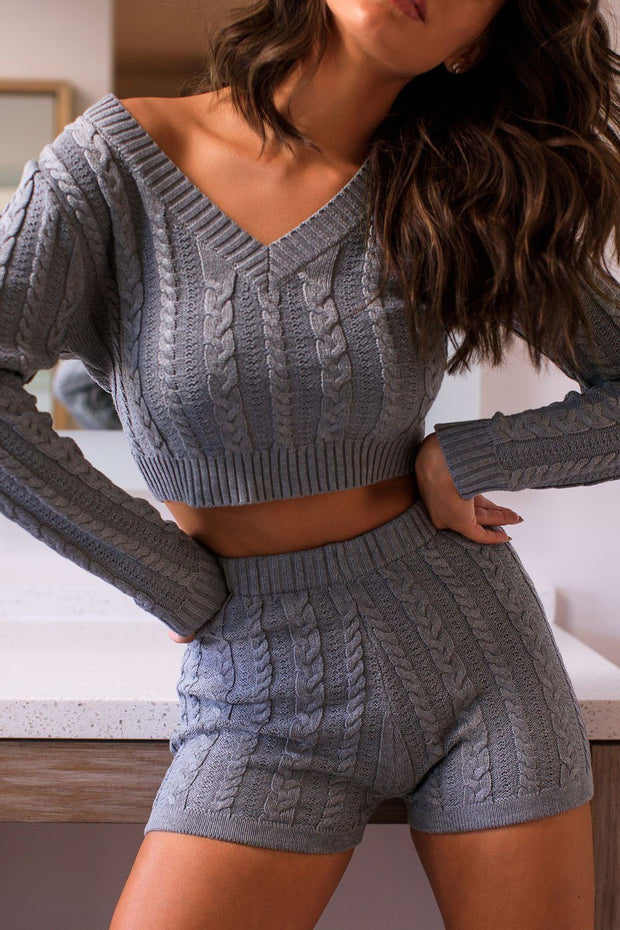 Grey Cable Knit Sweater Crop Top
