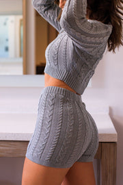 Grey Cable Knit Shorts