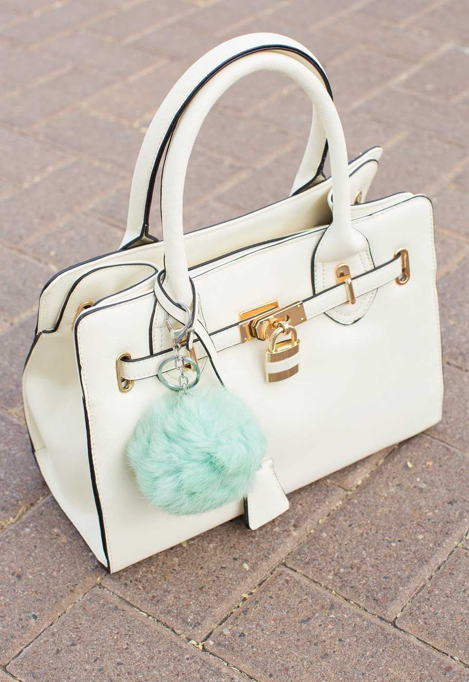 Mint Fur Ball Keychain Accessory