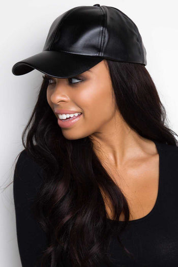 Black Pleather Baseball Cap