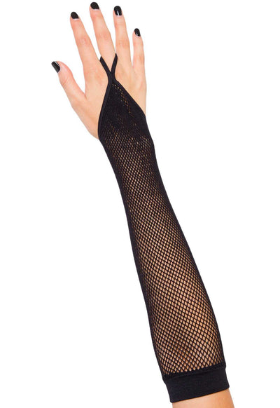 Black Finger Loop Fishnet Sleeves