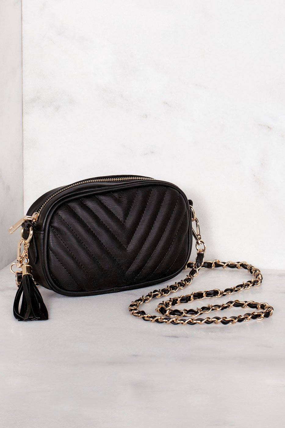 Accessories - Aster Black Vegan Leather Crossbody Bag