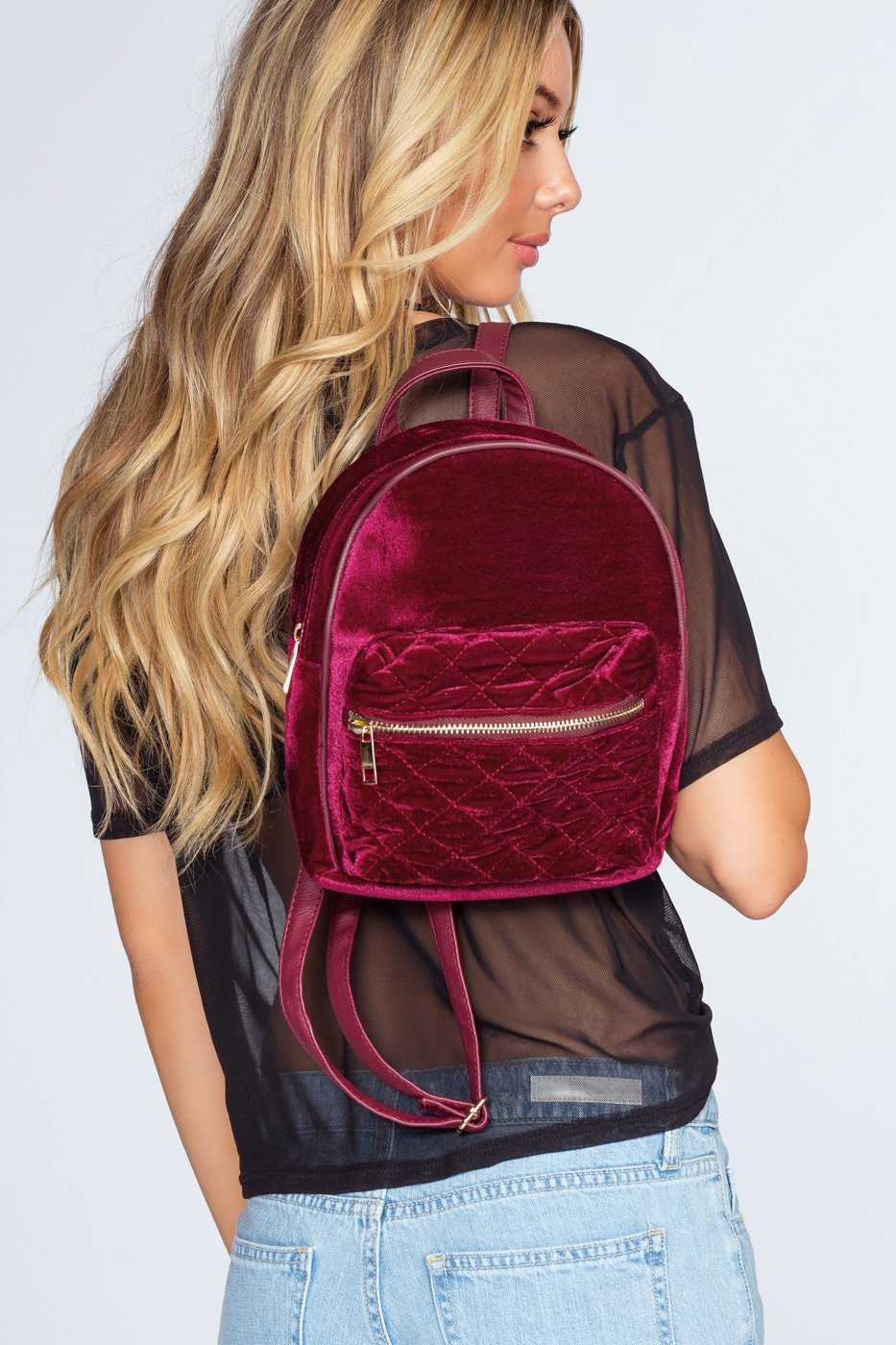 Accessories - Be You Quilted Backpack - Burgundy