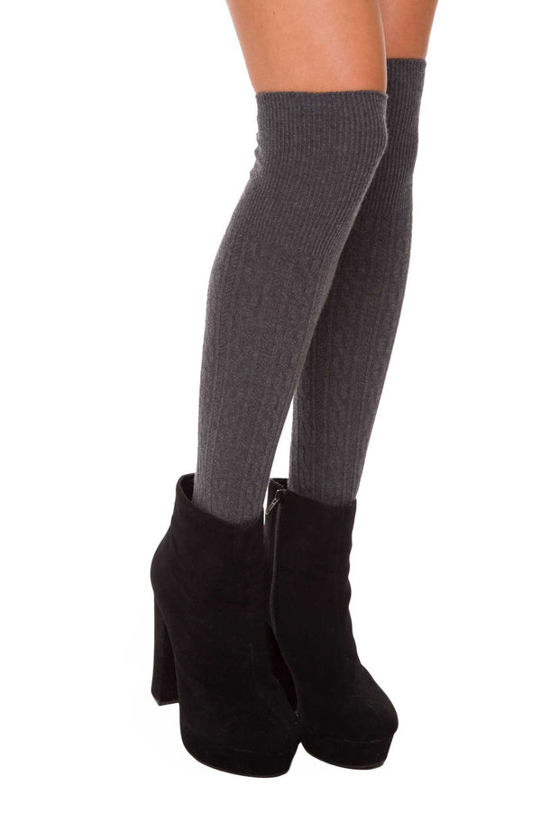 Accessories - Charlize Over The Knee Socks - Charcoal