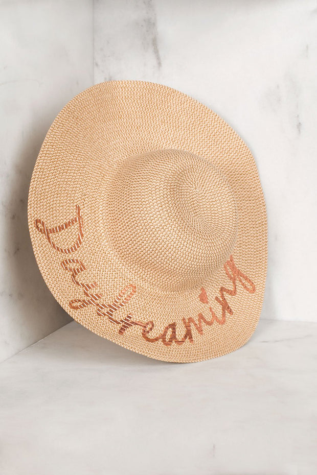 Daydreaming Beige Floppy Straw Hat