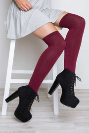 Accessories - Elfie Thigh High Socks - Burgundy